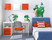 Wall Stickers for Kids - Are your children afraid of dragons? They're not that scary! Just take a look at this family of green dragons with bifurcated tongues, consisting of a...