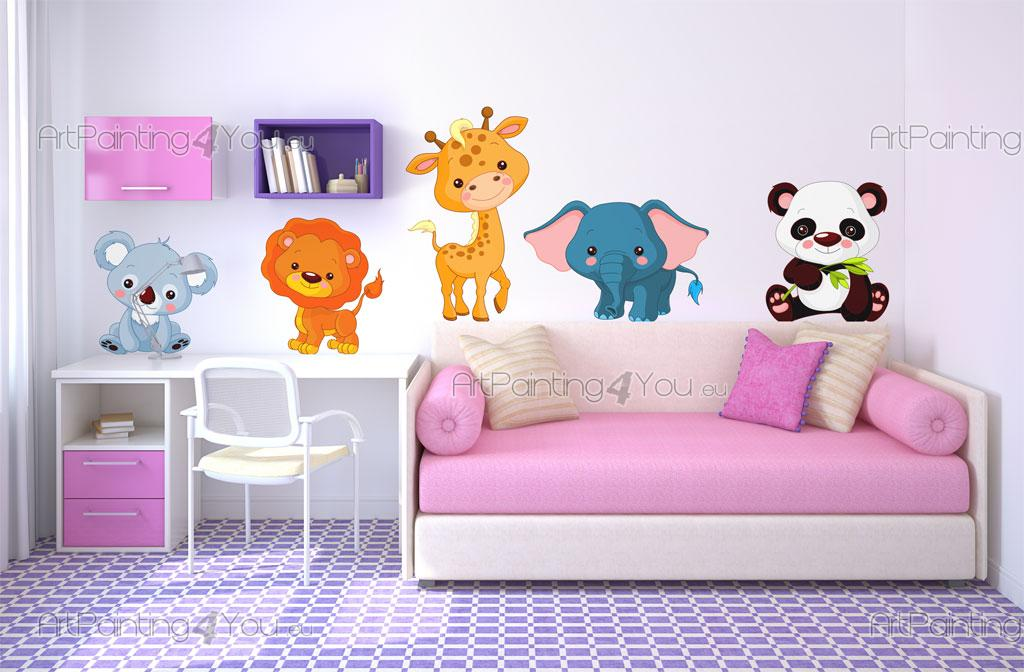 Stickers chambre b b safari animaux jungle kit 1502fr for Stickers animaux chambre bebe
