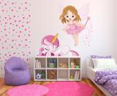 Original wall decals for the rooms of babies and kids. Stimulate their imagination with stickers of mythical beings that will cheer up the decor! This kit includes two characters: one of a baby fairy holding a wand and a sleepy, pink unicorn with a golden horn.