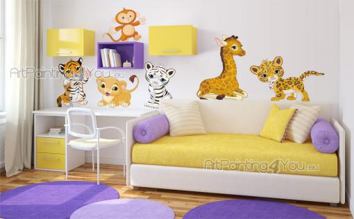 Jungle Wall Stickers for Kids - Baby animal stickers! Create a safari path in the nursery or kids room with this kit of cute wall decals. There six babies from six different species:...