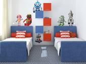 Robots (Kit) - There are so many different kinds of machines out there! Some are even provided with some sort of artificial intelligence! If your kid loves technology and informatics, place on the walls of their room these wall stickers of six colourful, playful robots.