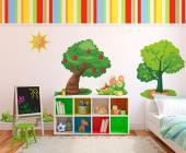 Wall Stickers for Kids - Let the sunshine in! Decorate the nursery or the bedroom of your kid with wall decals that summon the joys of Spring: a happy Sun, an old apple tree a...