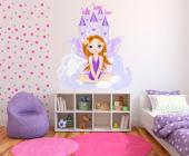 Girls Wall Stickers Princesses & Fairies - Welcome to the purple castle on the clouds! The royal fairy, a shy little girl with plumerias on her ginger hair, is here to greet you. Place this wal...