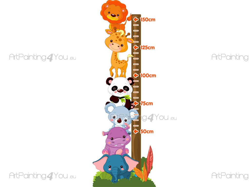 jungle animals height measurement wall decals for kids