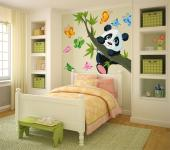 Wall decals for baby and kids rooms. Celebrate your child's respect for wildlife with cute animal stickers, like these of a panda bear cub playing on a tree branch and eight butterflies to spread across the bedroom.