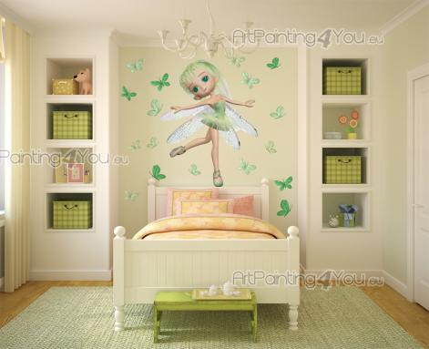 Girls Wall Stickers Princesses & Fairies - A dance festival is taking place on a glade in a magical forest. This ballerina, a fairy with green hair and eyes and transparent wings, starts her pe...