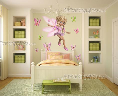 Girls Wall Stickers Princesses & Fairies - Would your little girl like to have a fairy godmother? Decorate the baby or kid room with an exclusive wall decals set consisting of a gorgeous fairy,...