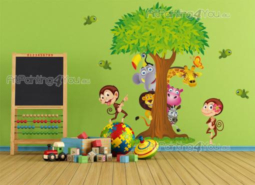 Jungle Wall Stickers for Kids - Decorate the baby or kids room with these wall stickers. Play under the jungle tree with a couple of cheeky monkeys, little birds and visitors from th...