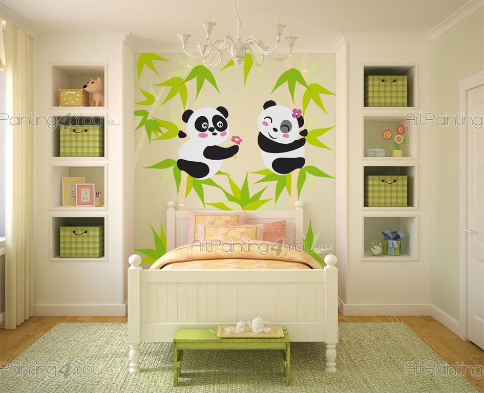 Ours panda kit stickers muraux chambre b b vdi1146fr for Stickers panda chambre bebe