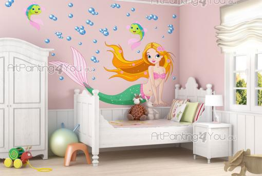 Under the Sea Wall Stickers Nursery - Sea wall stickers for kids rooms! Let your little girl create a fairy tale with the help of these original decals. Place the beautiful, red-haired mer...