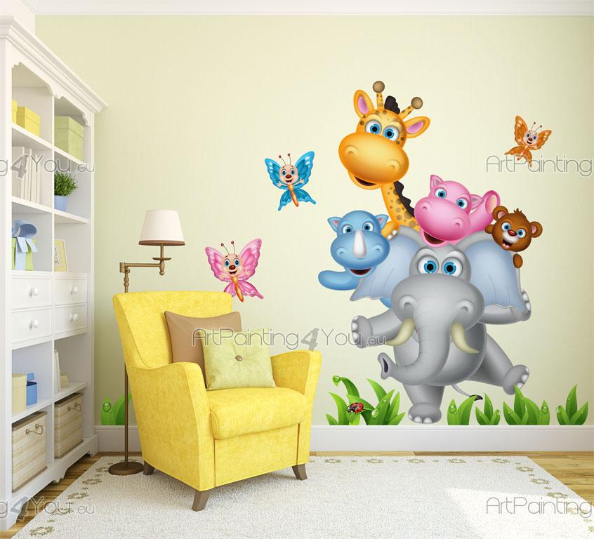 wandtattoo kinderzimmer dschungel tiere artpainting4you. Black Bedroom Furniture Sets. Home Design Ideas