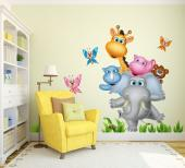 Help your baby and kids get out of bed with a colourful sight on their room. Make them smile with these safari wall decals featuring butterflies, fresh herbs and a big elephant holding his friends the rhino, the giraffe, the bear and the hippo, while standing on one foot.