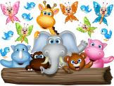 Jungle Wall Stickers for Kids - Wall decals for a nursery or kid room. Take your children on a safari through the funniest jungle ever! Meet the jolly giraffe, the kind elephant, the...