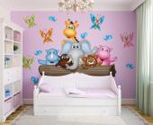 Wall decals for a nursery or kid room. Take your children on a safari through the funniest jungle ever! Meet the jolly giraffe, the kind elephant, the friendly rhino, the shy pygmy hippo, the bear who wants to be everywhere at a time, the smiley hippo and the birds and butterflies. Apply the stickers with the help of your kids.