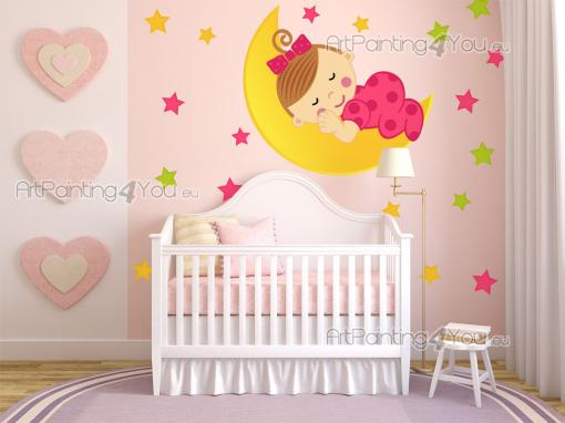 Wall Stickers for Kids - Let's go to bed! Give a touch of lunar love to the nursery or baby room with these wall stickers to be applied above the cradle or the headboard. In t...