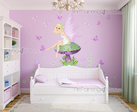 Girls Wall Stickers Princesses & Fairies - Removable wall decals for a baby or kids room. Travel with your little girls to an enchanted forest and have a talk with a pretty fairy sitting on a b...