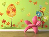 Trees & Butterflies (Kit) - Turn your baby or little girl's bedroom into a colourful, spectacular garden. Apply these Wall Decals for Kids together and go for a walk on a field of fluffy grass and pretty flowers, surrounded by gracious butterflies and trees with egg-shaped, flowery crowns.