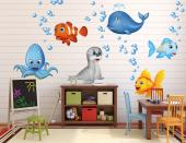 Turn a wall into a small ocean! Use this kit of wall decals to embellish a baby or kids room: it includes small sets of air bubbles and animals such as a clownfish, a light blue fish, a goldfish, a big whale, a sea lion pup and a blue octopus.