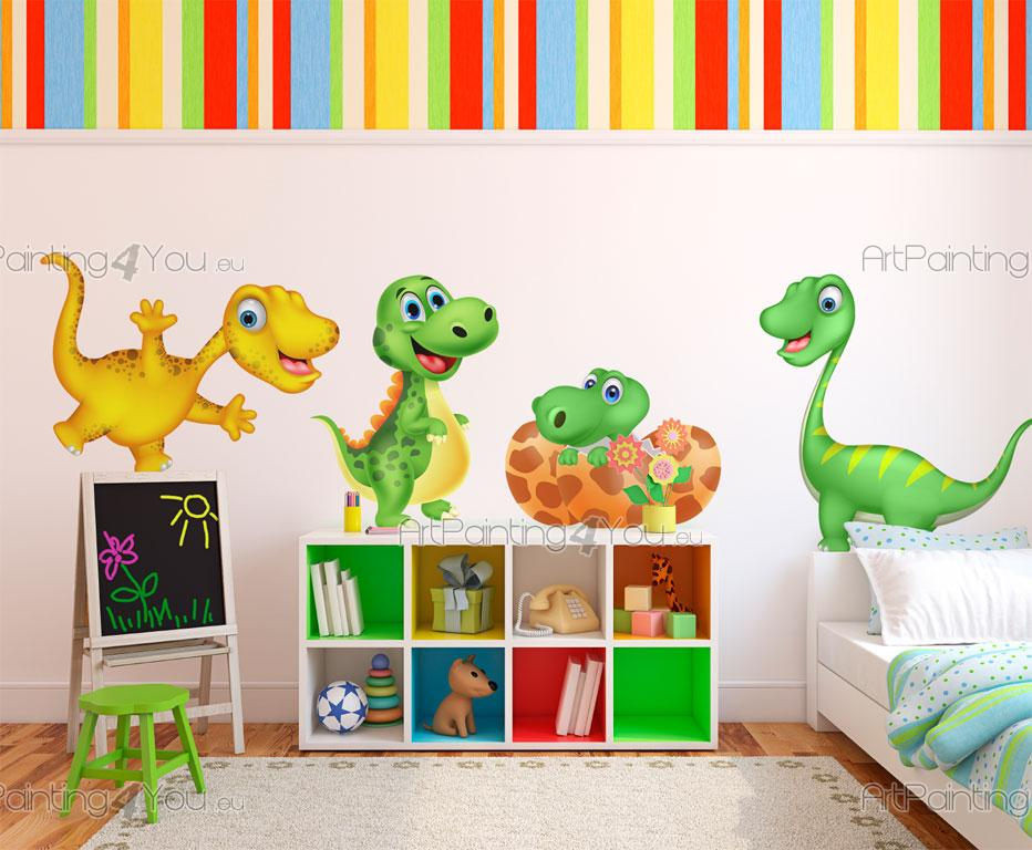Wall decals for kids cute dinosaurs kit for Dinosaur mural kit