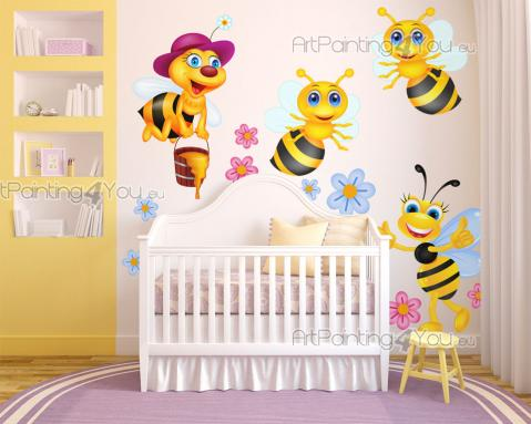 Wall Stickers for Kids - Bees buzz and have stings, but they are harmless unless you mess with them. These funny bees are busy pollinating flowers and producing honey to offer...
