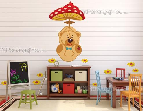 Jungle Wall Stickers for Kids - Make the baby or kids room a sweeter place! Get this set of wall stickers and apply on flat surfaces the teddy bear holding a flying magical mushroom ...