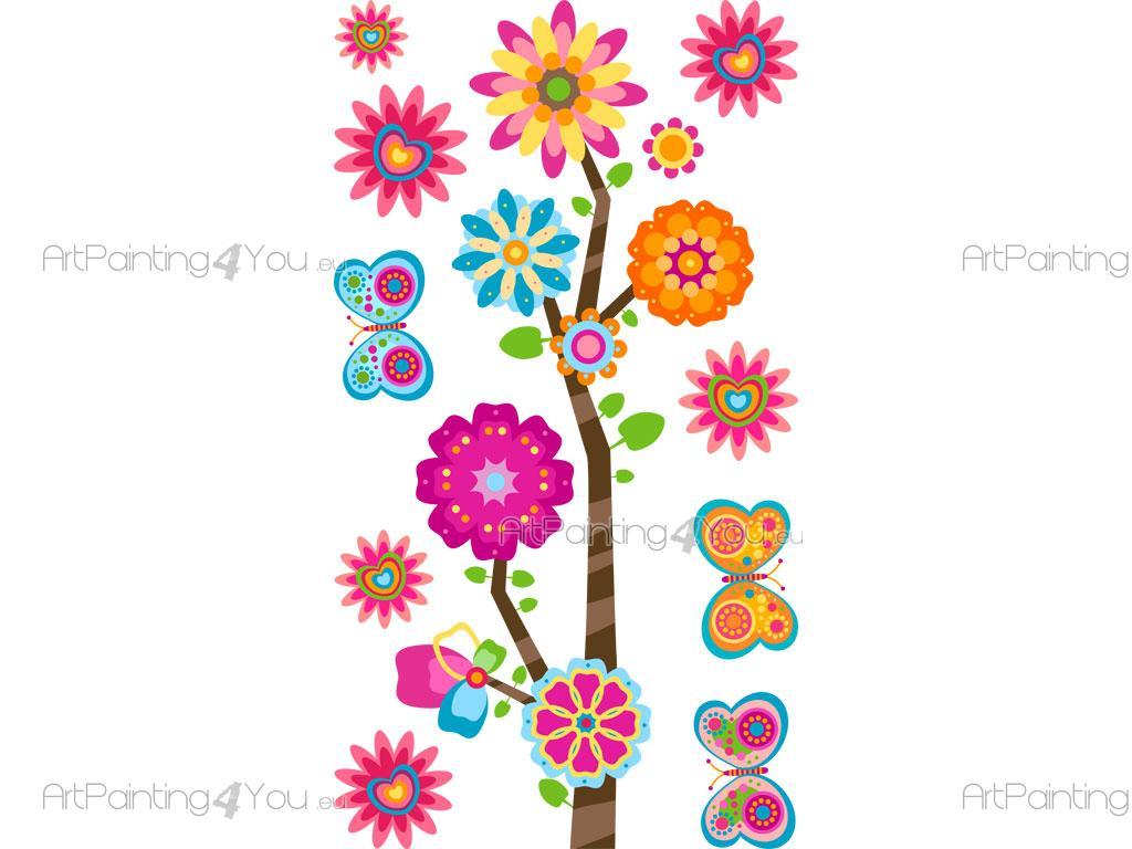 Vinilos infantiles flores mariposas kit 2028es - Decorar dibujos infantiles ...