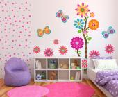 Wall decals for baby and kids room in bright colours. Decorate the bedroom of a child with this kit of stickers bursting with colours, featuring gracious butterflies, little flowers with a heart-shaped centre and a curious tree that has several different flowers, one for each trifurcation and branch.
