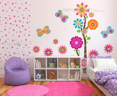 Wall Stickers for Kids - Wall decals for baby and kids room in bright colours. Decorate the bedroom of a child with this kit of stickers bursting with colours, featuring graci...