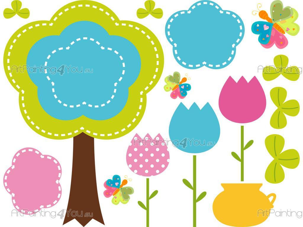 Vinilos infantiles flores mariposas kit 2126es - Flores para decorar paredes ...