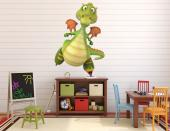 Funny Dragon - Funny wall stickers for kids. For those children who love sports and fairy tales, here's a wall decal of a very stylish dragon strolling around in his colourful inline skates. Just add it to the bedroom decor!