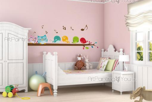 Cute Birds & Owls - Wall decals for a nursery or kids room. Decorate a wall with a flock of colourful singing birds and a couple of loving owls standing on a long tree branch. Try applying this multicoloured sticker next to a wooden wardrobe and place the musical notes above it.