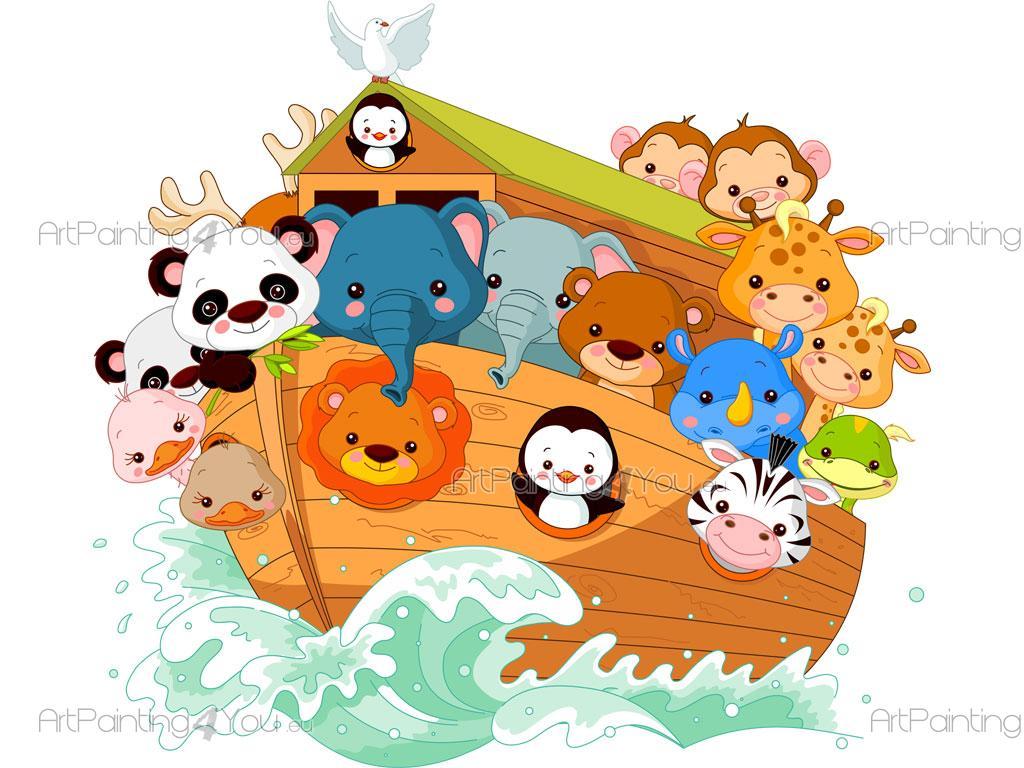 Adesivi murali bambini arca di noè animali (2136it)