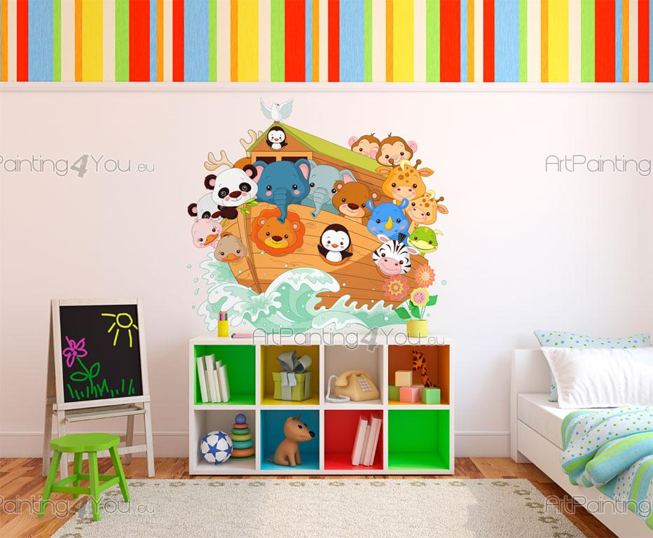 wandtattoo wandsticker kinderzimmer arche noah tiere. Black Bedroom Furniture Sets. Home Design Ideas