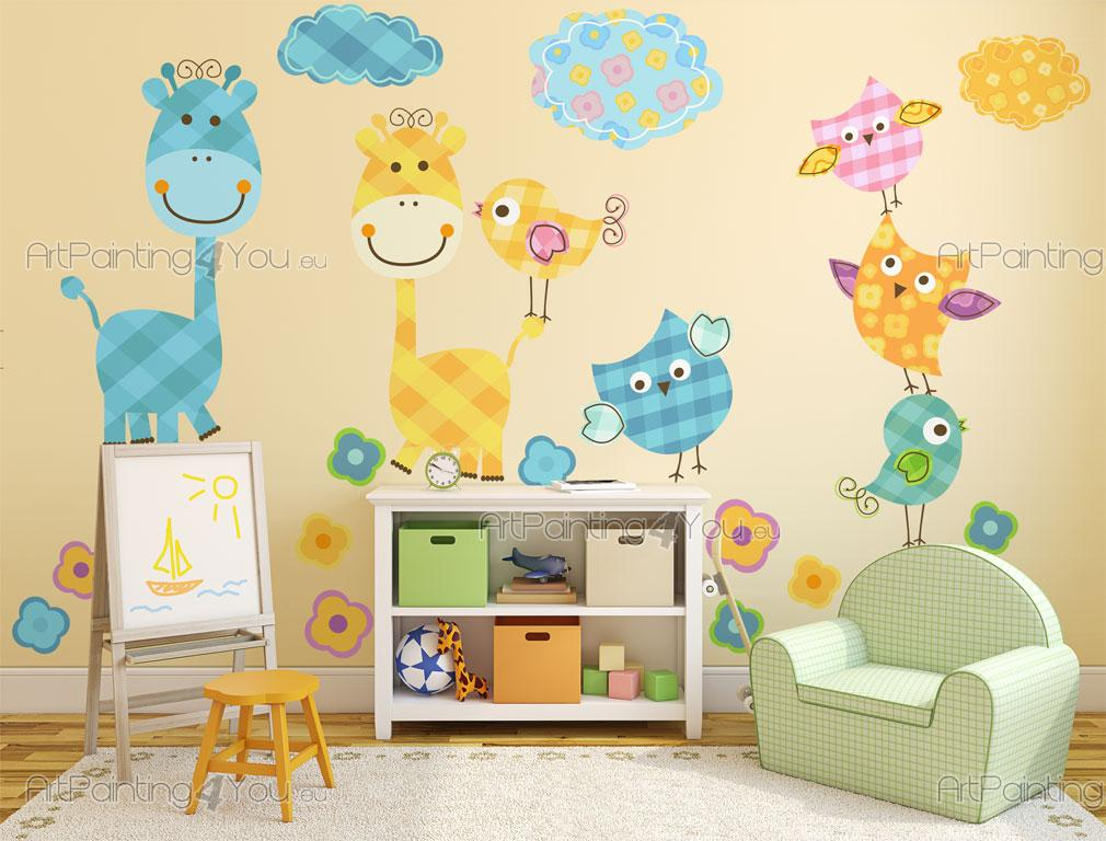 Stickers chambre b b girafe oiseaux 2138fr - Stickers girafe chambre bebe ...