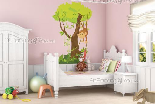 stickers muraux chambre b b petit singe dans la jungle vdi1201fr. Black Bedroom Furniture Sets. Home Design Ideas
