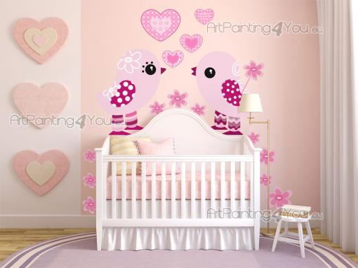 Wall Stickers for Kids - Wall stickers with a romantic note for kids ! Turn a wall of your baby's nursery or room into a page of a picture book with this kit of decals in shad...