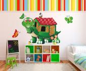 Here's a tortoise from a mysterious place over the rainbow. Its shell forms a small, green house with red roof. Want your baby or kid to meet this marvellous creature? Decorate a wall of their room with a decal of this turtle and little wall stickers of the butterflies that inhabit the house.