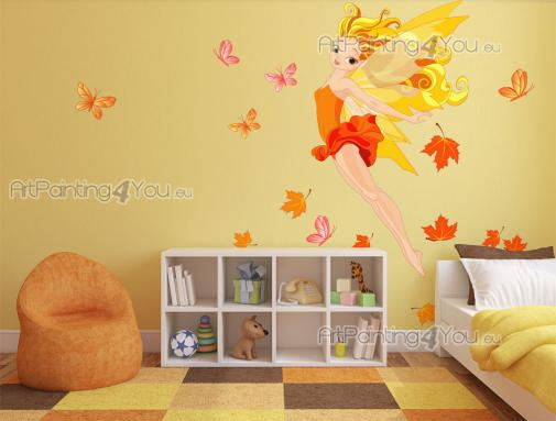 Girls Wall Stickers Princesses & Fairies - If your little girl was born in the season of Autumn, then we suggest you this set of wall decals to be applied on walls and doors of the baby or kids...