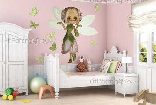 Girls Wall Stickers Princesses & Fairies - Let the greenery and the freshness of the woods enter the kids room! Beautify your little girl's room walls with this kit of wall stickers featuring m...