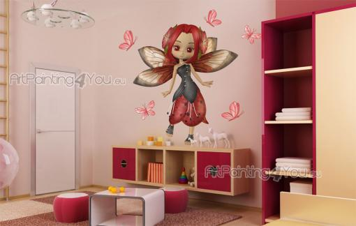 Girls Wall Stickers Princesses & Fairies - For the young girl who likes to create her own style, here's a gorgeous wall decals kit for decorating the kids room. Place on a wall the eight red bu...