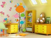 Flowers & Butterflies (Kit) - Wall decals for baby and kids rooms. Place the stickers in this kit on a clean, empty wall and let the gorgeous butterflies and the heart-bearing tree with cloud-shaped crowns turn their room in the sweetest in the house.