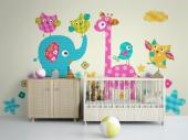 Giraffe & Olifant - Muurstickers Jungle Babykamer