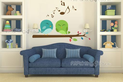 Wall Stickers for Kids - Sing like the birds! Apply in the nursery or above the headboard of the baby or kid room this lovely wall decal with two little birds singing gleefull...