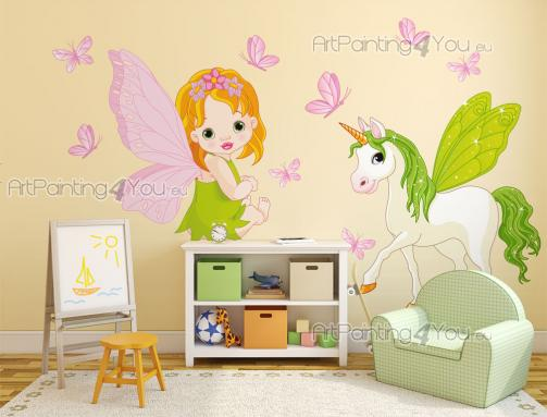 Girls Wall Stickers Princesses & Fairies - Fill a wall of the kids room with Spring colours! This kit of wall decals has a red-haired baby fairy with large pink wings and a white unicorn with a...