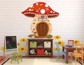 Remember the tale of Hansel and Gretel? This wall decal of a candy house isn't home to a wicked witch nor is it made of cake, but it will look wonderful in a kids room or even a kitchen. Imagine eating a whole mushroom made of sponge cake and candies! Try not to bite the daisy gummies.