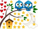 Wall Stickers for Kids - Wall decals for a nursery or kids room. The night has come and two chubby blue owls come out of their wooden birdhouse and sit on a tree branch. They'...