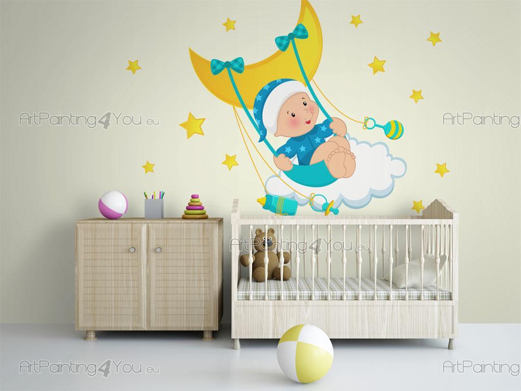 Stickers Muraux Chambre Bébé stickers muraux chambre bébé lune & Ètoiles (kit) | artpainting4you.eu®