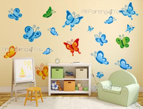 Wall Stickers for Kids - There as many as 100 000 species of butterflies in the world! How many can you identify? Teach your children to love and respect them with this kit of...