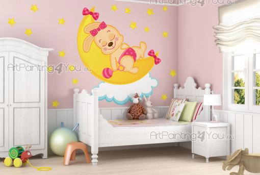 Wall Stickers for Kids - Nursery and baby room wall decals. Newborns sleep a lot, so it's a good idea to get them a sleepy friend. Apply above the cradle of your little girl t...