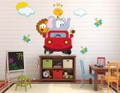 Let's go on a safari through the jungle and the savannah! Decorate the nursery or the baby or kids room with a set of colourful wall decals. Place on a wall the butterflies, the clouds and the red truck with an elephant, a lion, a giraffe and a snail on board.